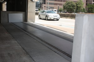 FloodBreak designed this passive flood barrier to protect the building garage
