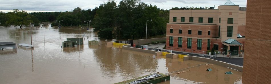 Floodwall and FloodBreak floodgates protect hospital from catastrophic flood damage