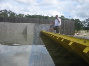 The FloodBreak testing facility is used to demonstrate how the FloodBreak passive floodgate is lifted by hydrostatic pressure