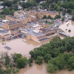FloodBreak flood barriers and floodwall protect hospital