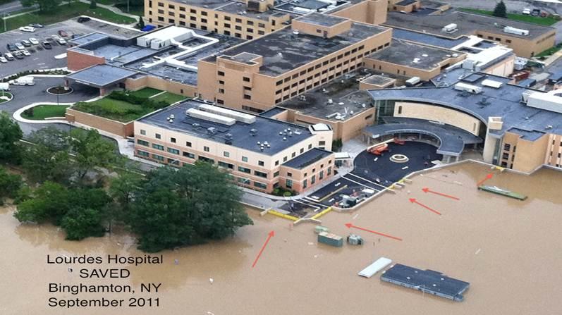 FloodBreak Floodgates were part of a flood mitigation that prevented catastrophic flood damage at Lourdes Hospital
