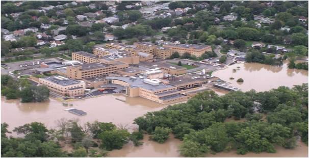 A FEMA funded floodwall with 11 FloodBreak Floodgates prevented catastrophic flood damage