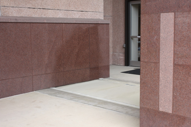 FloodBreak Floodgates use the MD Anderson granite sidewalls to maintain the architectural beauty
