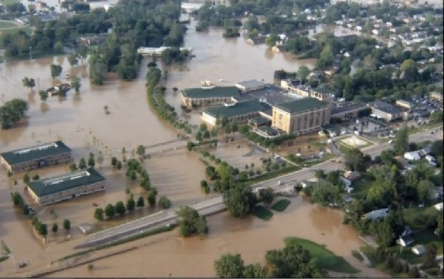 An unprecedented flash flood caused extensive damage and forced hospital evacuation