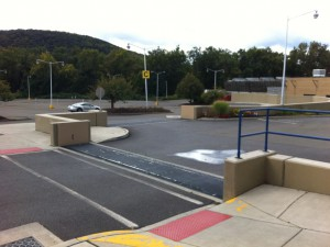 FloodBreak passive floodgates provide protection for parking lots located in the floodplain
