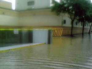 FloodBreak passive flood barrier deployed automatically to protect against rising floodwaters
