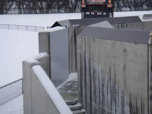 FloodBreak passive flood barrier protects pedestrian opening in floodwall