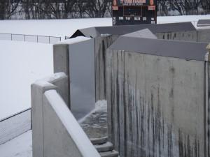 FloodBreak passive flood barrier protects pedestrian opening in floodwall