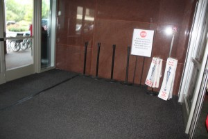 FloodBreak passive flood barrier hidden in hospital vestibule