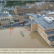 FloodBreak floodgates and floodwall protect Lourdes Hospital
