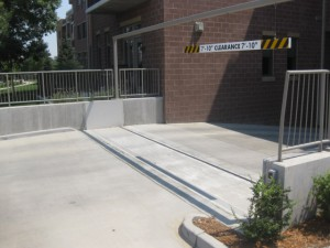 FloodBreak passive flood barrier protects garage entrance from flash flooding