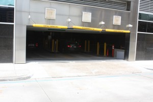 FloodBreak Automatic Floodgate protects the entrance to the parking garage