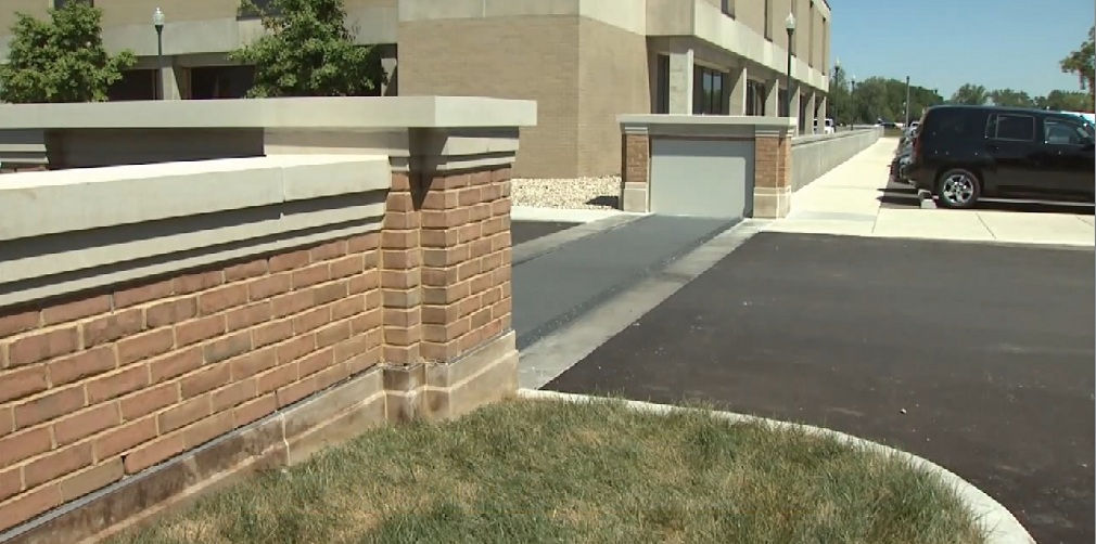 FloodBreak Vehicle Gate is integrated into the floodwall protecting the hospital from future floods