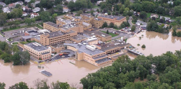 A FEMA funded floodwall and FloodBreak floodgates saved Lourdes Hospital from catastrophic flooding and allowed the facility to stay opena and service the community