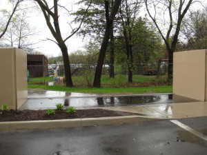 FloodBreak passive flood barrier protects pedestrian pathway