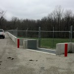 FloodBreak automatic flood barriers protect the wastewater treatment plant entrance