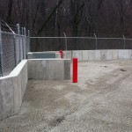 FloodBreak passive flood barrier protects a vehicle entrance