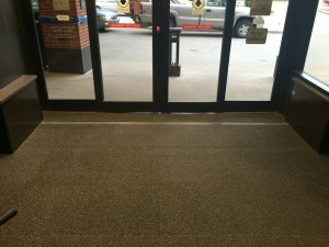 Mercy Hospital - carpet covering hides the permanently installed passive automatic pedestrian gate