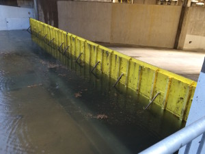 FloodBreak passive flood barrier deployed automatically to protect loading dock